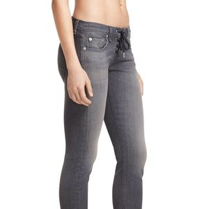 Rag & Bone Gray Dre Straight Mid-rise Tie-up Jeans